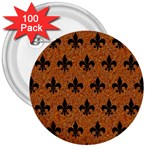 ROYAL1 BLACK MARBLE & RUSTED METAL (R) 3  Buttons (100 pack)  Front