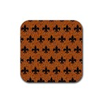 ROYAL1 BLACK MARBLE & RUSTED METAL (R) Rubber Coaster (Square)  Front