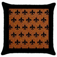 Royal1 Black Marble & Rusted Metal (r) Throw Pillow Case (black)