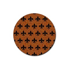 Royal1 Black Marble & Rusted Metal (r) Rubber Round Coaster (4 Pack)