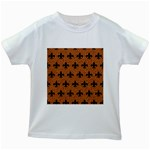 ROYAL1 BLACK MARBLE & RUSTED METAL (R) Kids White T-Shirts Front