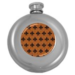 ROYAL1 BLACK MARBLE & RUSTED METAL (R) Round Hip Flask (5 oz) Front