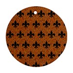 ROYAL1 BLACK MARBLE & RUSTED METAL (R) Round Ornament (Two Sides) Back