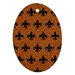 ROYAL1 BLACK MARBLE & RUSTED METAL (R) Oval Ornament (Two Sides) Back