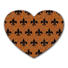 Royal1 Black Marble & Rusted Metal (r) Heart Mousepads