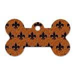 ROYAL1 BLACK MARBLE & RUSTED METAL (R) Dog Tag Bone (Two Sides) Front