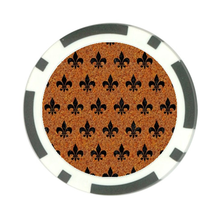 ROYAL1 BLACK MARBLE & RUSTED METAL (R) Poker Chip Card Guard