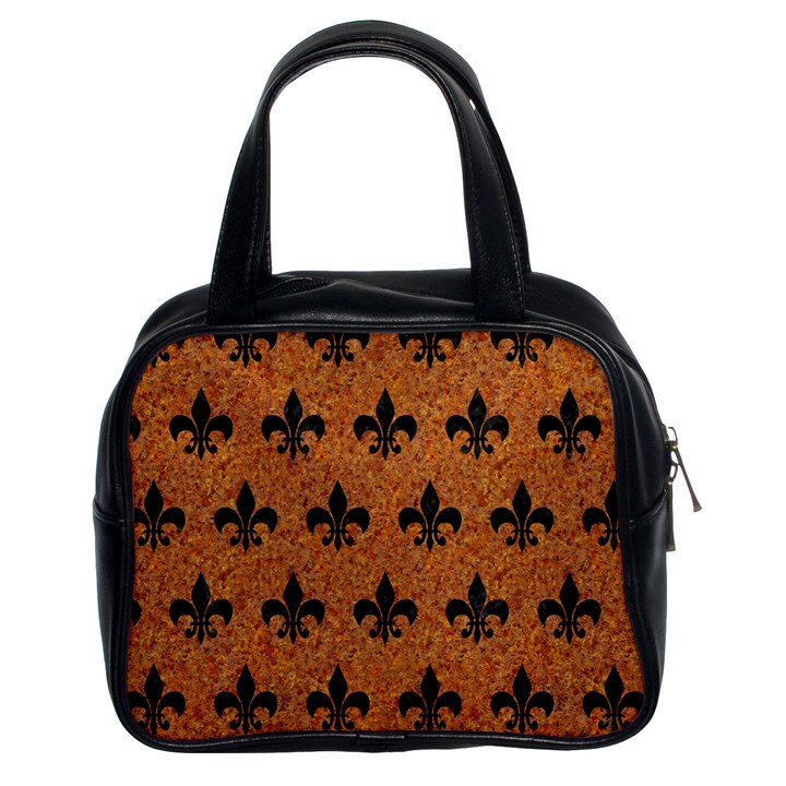 ROYAL1 BLACK MARBLE & RUSTED METAL (R) Classic Handbags (2 Sides)