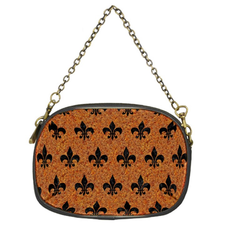ROYAL1 BLACK MARBLE & RUSTED METAL (R) Chain Purses (Two Sides)