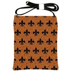Royal1 Black Marble & Rusted Metal (r) Shoulder Sling Bags