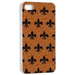 ROYAL1 BLACK MARBLE & RUSTED METAL (R) Apple iPhone 4/4s Seamless Case (White) Front