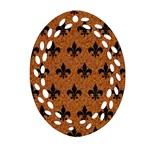 ROYAL1 BLACK MARBLE & RUSTED METAL (R) Ornament (Oval Filigree) Front