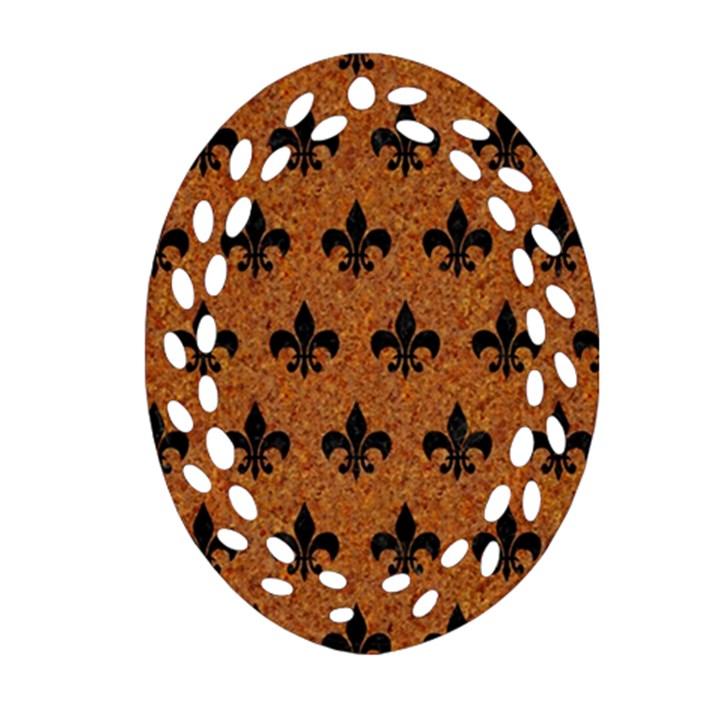 ROYAL1 BLACK MARBLE & RUSTED METAL (R) Ornament (Oval Filigree)