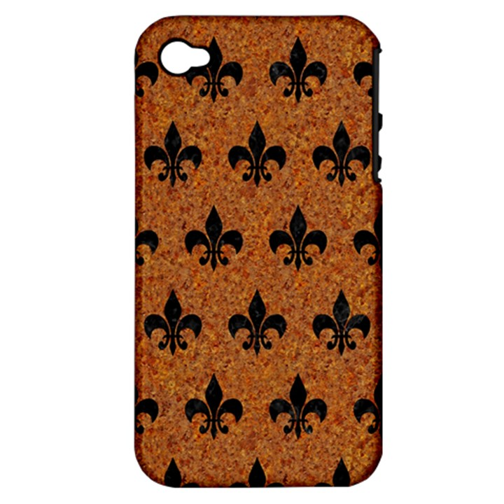 ROYAL1 BLACK MARBLE & RUSTED METAL (R) Apple iPhone 4/4S Hardshell Case (PC+Silicone)