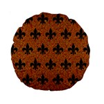 ROYAL1 BLACK MARBLE & RUSTED METAL (R) Standard 15  Premium Round Cushions Front