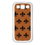 ROYAL1 BLACK MARBLE & RUSTED METAL (R) Samsung Galaxy S3 Back Case (White) Front