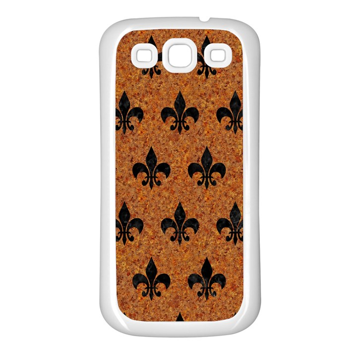 ROYAL1 BLACK MARBLE & RUSTED METAL (R) Samsung Galaxy S3 Back Case (White)