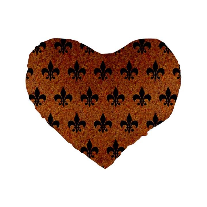 ROYAL1 BLACK MARBLE & RUSTED METAL (R) Standard 16  Premium Flano Heart Shape Cushions