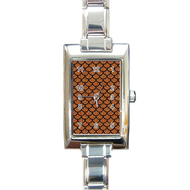SCALES1 BLACK MARBLE & RUSTED METAL Rectangle Italian Charm Watch