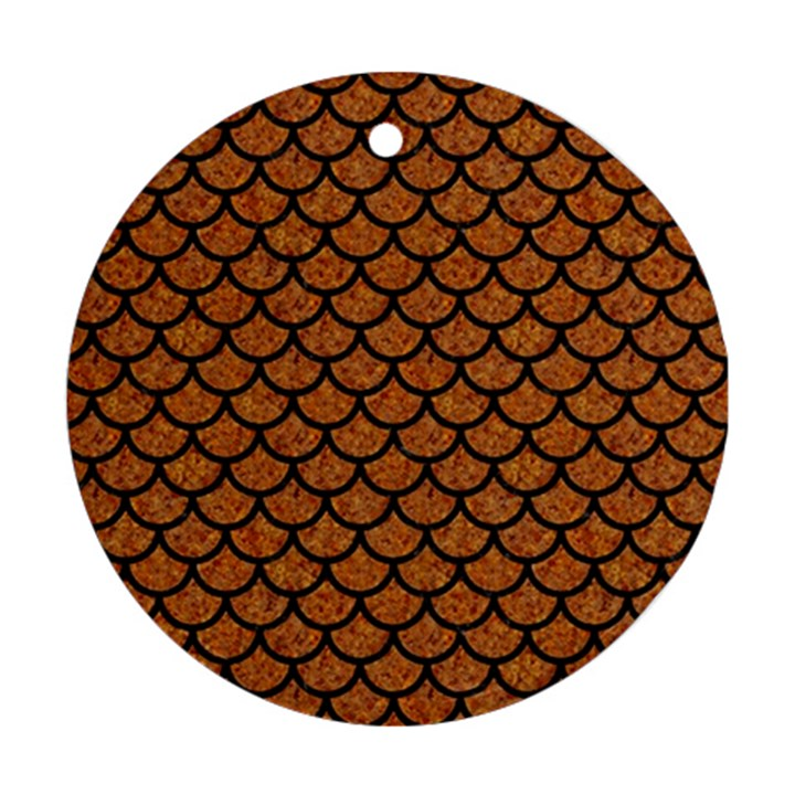 SCALES1 BLACK MARBLE & RUSTED METAL Ornament (Round)