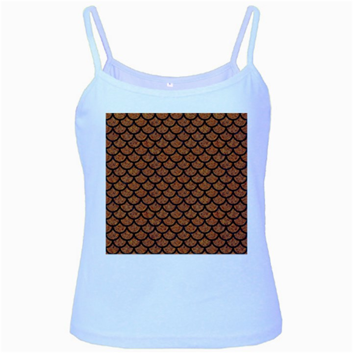 SCALES1 BLACK MARBLE & RUSTED METAL Baby Blue Spaghetti Tank