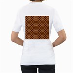 SCALES1 BLACK MARBLE & RUSTED METAL Women s T-Shirt (White) (Two Sided) Back