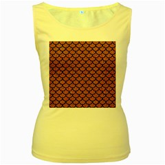 Scales1 Black Marble & Rusted Metal Women s Yellow Tank Top