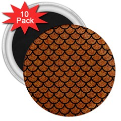 Scales1 Black Marble & Rusted Metal 3  Magnets (10 Pack)