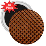 SCALES1 BLACK MARBLE & RUSTED METAL 3  Magnets (10 pack)  Front