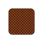 SCALES1 BLACK MARBLE & RUSTED METAL Rubber Coaster (Square)  Front