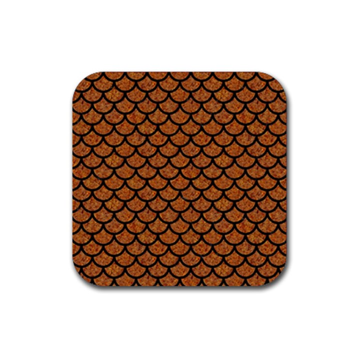 SCALES1 BLACK MARBLE & RUSTED METAL Rubber Square Coaster (4 pack)