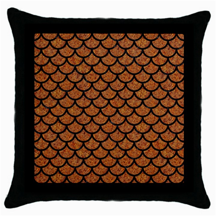 SCALES1 BLACK MARBLE & RUSTED METAL Throw Pillow Case (Black)