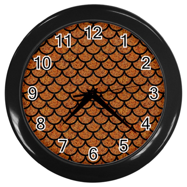 SCALES1 BLACK MARBLE & RUSTED METAL Wall Clocks (Black)