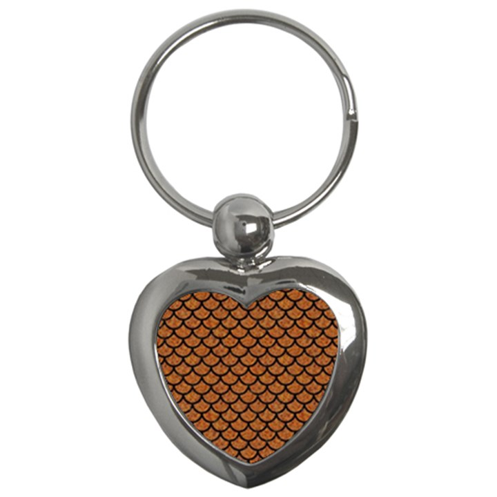 SCALES1 BLACK MARBLE & RUSTED METAL Key Chains (Heart)