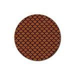 SCALES1 BLACK MARBLE & RUSTED METAL Rubber Coaster (Round)  Front