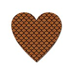 SCALES1 BLACK MARBLE & RUSTED METAL Heart Magnet Front