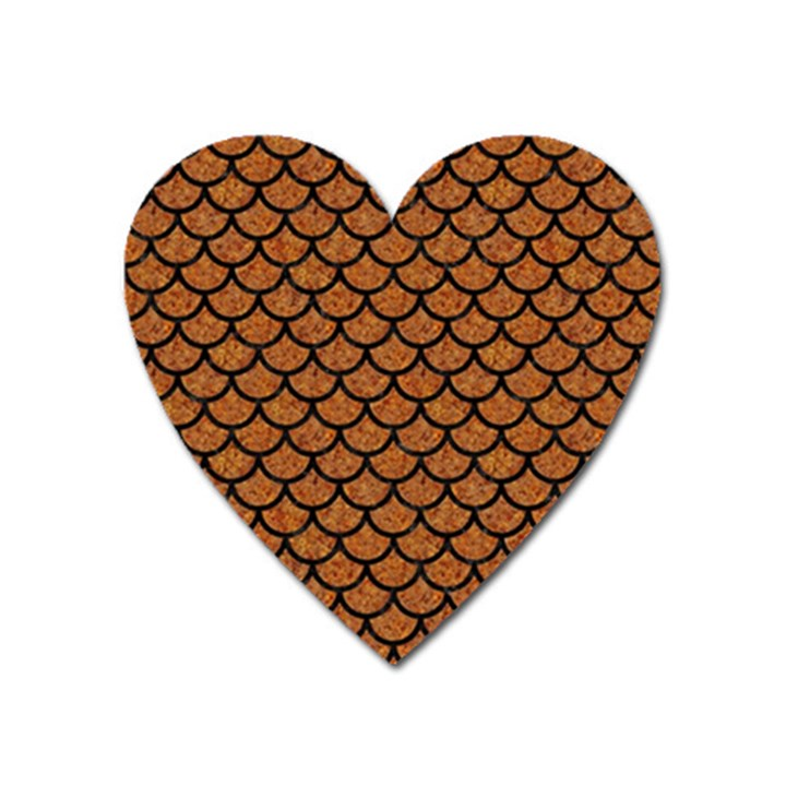 SCALES1 BLACK MARBLE & RUSTED METAL Heart Magnet