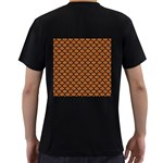 SCALES1 BLACK MARBLE & RUSTED METAL Men s T-Shirt (Black) (Two Sided) Back