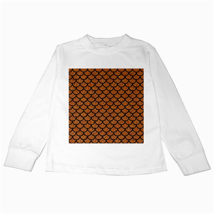 SCALES1 BLACK MARBLE & RUSTED METAL Kids Long Sleeve T-Shirts