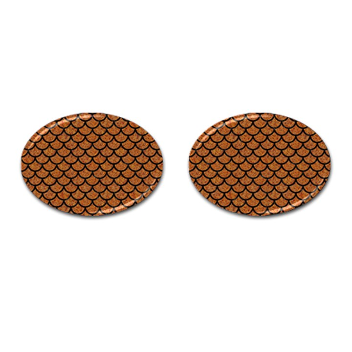 SCALES1 BLACK MARBLE & RUSTED METAL Cufflinks (Oval)