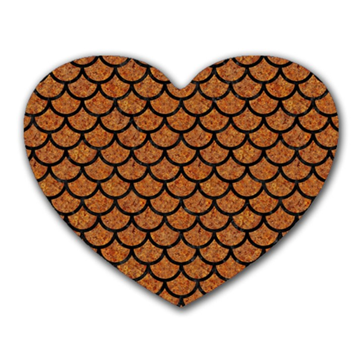 SCALES1 BLACK MARBLE & RUSTED METAL Heart Mousepads