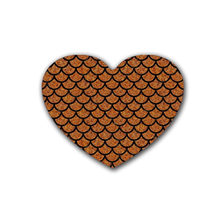 SCALES1 BLACK MARBLE & RUSTED METAL Rubber Coaster (Heart)
