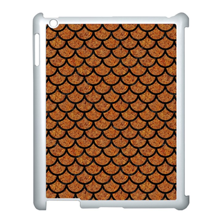 SCALES1 BLACK MARBLE & RUSTED METAL Apple iPad 3/4 Case (White)