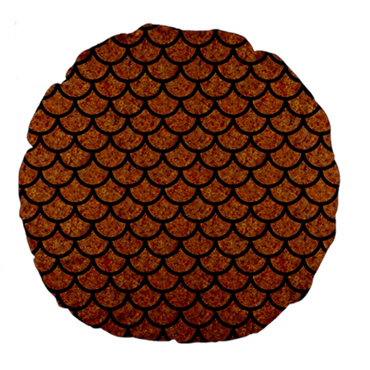 SCALES1 BLACK MARBLE & RUSTED METAL Large 18  Premium Round Cushions