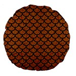 SCALES1 BLACK MARBLE & RUSTED METAL Large 18  Premium Round Cushions Back
