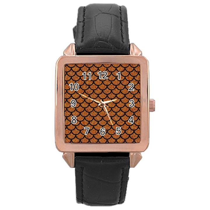SCALES1 BLACK MARBLE & RUSTED METAL Rose Gold Leather Watch