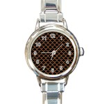 SCALES1 BLACK MARBLE & RUSTED METAL (R) Round Italian Charm Watch Front