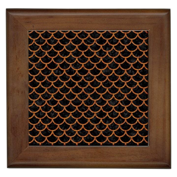 SCALES1 BLACK MARBLE & RUSTED METAL (R) Framed Tiles