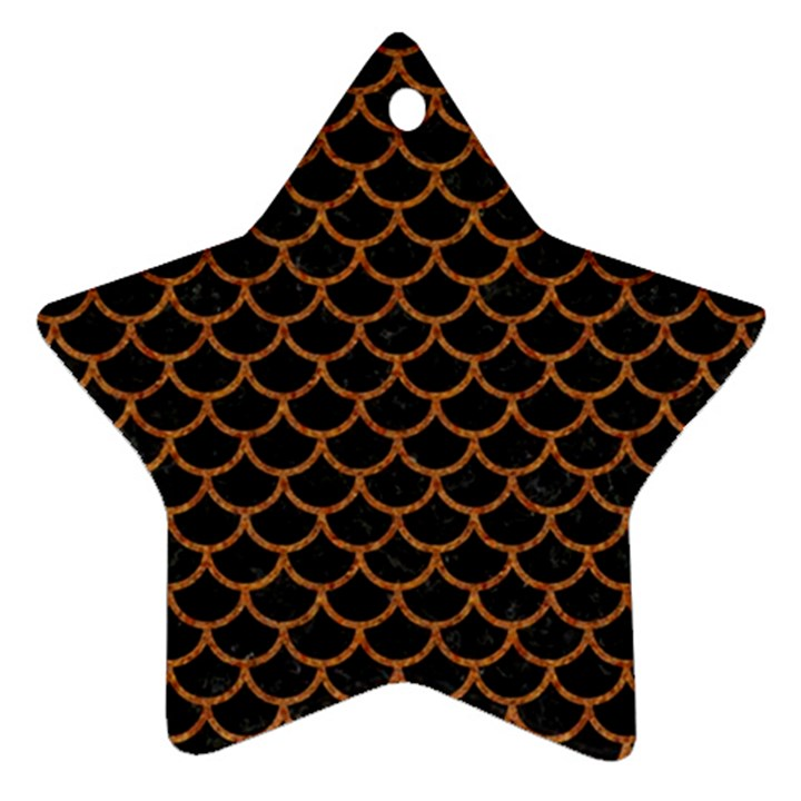 SCALES1 BLACK MARBLE & RUSTED METAL (R) Ornament (Star)