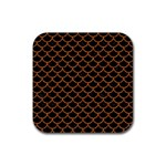 SCALES1 BLACK MARBLE & RUSTED METAL (R) Rubber Coaster (Square)  Front